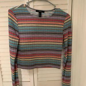 Gray Rainbow Striped Long-Sleeve Crop-Top